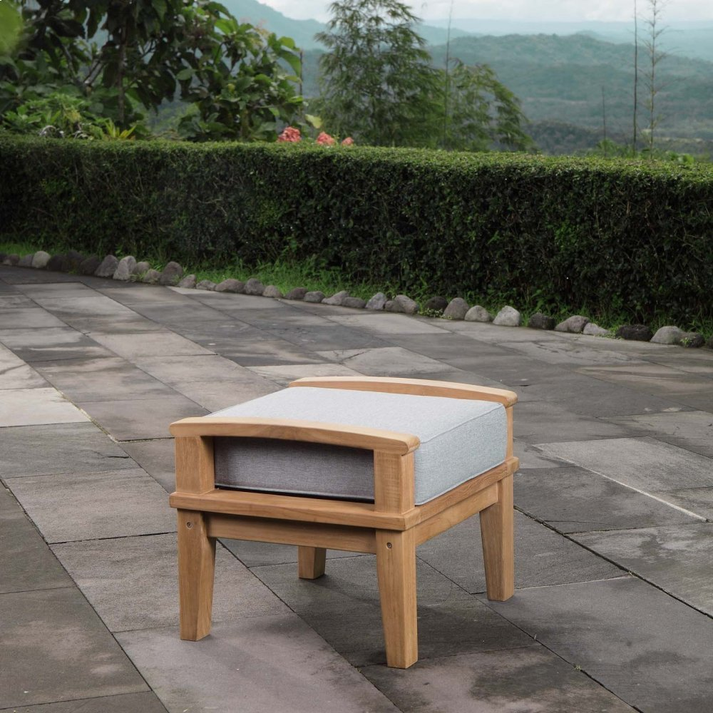 Marina Outdoor Patio Teak Ottoman in Natural Gray
