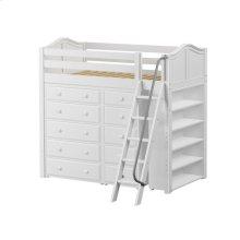 High Loft w/ Angle Ladder, 5 Drawer Dresser, Narrow 5 Drawer Dresser & Bookcase : Twin : White : Curved