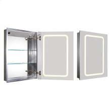 Medicinehaus recessed single door anodized aluminum cabinet with an electric outlet, defogger, and blue-lit LED power button and dimmer for light around the front.