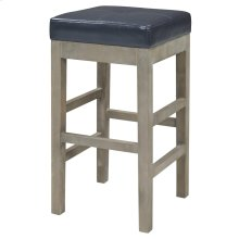 Valencia Bonded Leather Backless Bar Stool Mystique Gray Legs, Payne's Gray