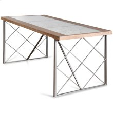 Wooden Floral Engraved Glass Top Dining Table  30in X 71in X 32in  Dining Table