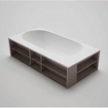 "amanpuri7 blustone bathtub with one-sided shelving, White matte 83 1/2""x41 3/4""x20 1/2"""