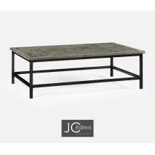 Antique Dark Grey Rectangular Coffee Table with Iron Base