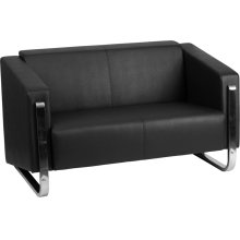 HERCULES Gallant Series Contemporary Black Leather Loveseat with Stainless Steel Frame