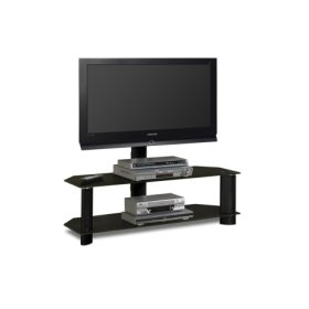 "48'"" Wide Stand With Mount and Black Glass Shelves - Accommodates Most 52"" and Smaller Flat Panels"