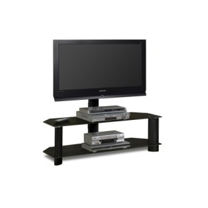 """48'"""" Wide Stand With Mount and Black Glass Shelves - Accommodates Most 52"""" and Smaller Flat Panels"""
