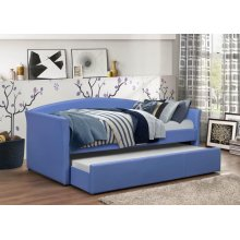 BLUE PU DAYBED W/ TRUNDLE