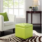 Volt Storage Upholstered Vinyl Ottoman in Light Green Product Image