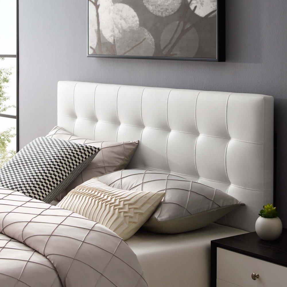 Lily Full Upholstered Vinyl Headboard in White