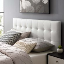 Lily Full Upholstered Vinyl Headboard in White