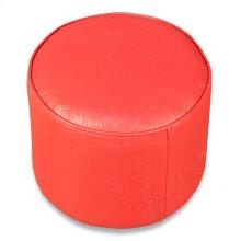 Round Footrest, Embossed Croc Red Leathr