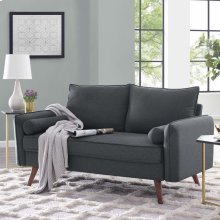 Revive Upholstered Fabric Loveseat in Gray