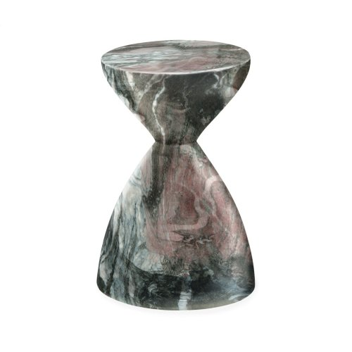 Round Faux Black & Grey Marble Wine Table