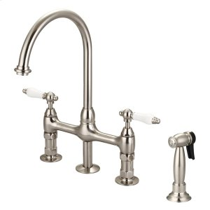 Harding Kitchen Bridge Faucet with Sidespray and Porcelain Lever Handles - Brushed Nickel Product Image