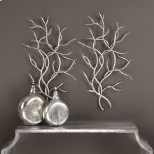 Silver Branches Metal Wall Decor, S/2