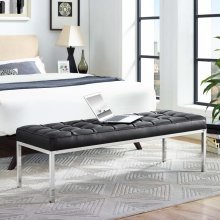 Loft Leather Bench in Black