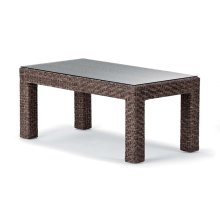 """Lake Shore Wicker 22"""" x 42"""" Coffee Table w/ Tempered Glass Overlay"""