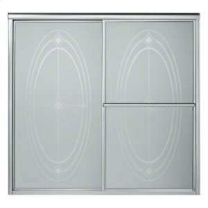 "Deluxe Sliding Bath Door - Height 56-1/4"", Max. Opening 59-3/8"" - Silver with Ellipse Glass Pattern Product Image"