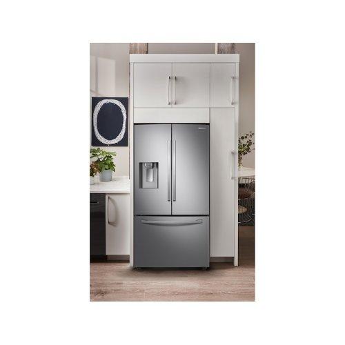 28 cu. ft. 3-Door French Door, Full Depth Refrigerator with Food Showcase in Stainless Steel