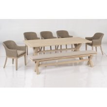 "Gracelyn 91"" Acacia FSC KD Dining Bench w/ Sunbrella Cast Ash cushion"
