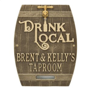 Drink Local Barrel Personalized Plaque - Antique Brass Product Image