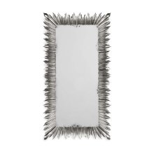 Silvered floor standing rectangular sunburst mirror