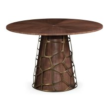 "48"" Circular Natural Walnut Dining Table"