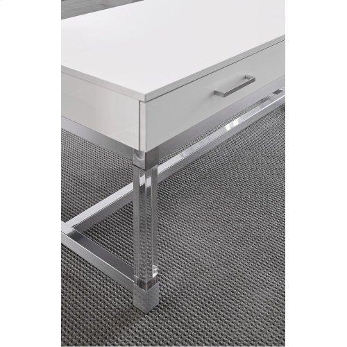 "Everett Cocktail Table, White 47""x24""x20"""