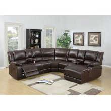 F6746 / Cat.19.p52- 5PCS RECLINING SECTIONAL BROWN
