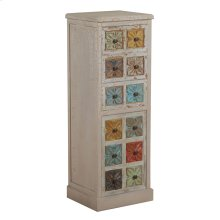 Molly White and Colored Tall Cabinet