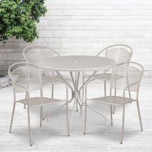 """Commercial Grade 35.25"""" Round Light Gray Indoor-Outdoor Steel Patio Table Set with 4 Round Back Chairs"""