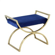 Metal Curved Leg Ottoman, Gold/navy
