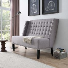 Achieve Upholstered Fabric Settee in Light Gray