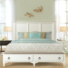 Myra - Queen Upholstered Bench Storage Footboard - Paperwhite Finish