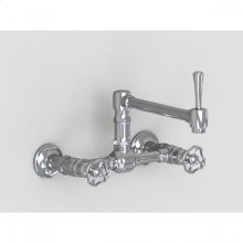 """Brushed Stainless - Wall Mount 8 7/8"""" Articulated Single Swivel Spout with Metal Wheel"""