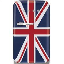 "Approx 16"" 50's Retro Style Mini Refrigerator, Union Jack, Right hand hinge"