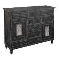 Distressed Black Door & Drawer Chest Product Image