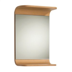 Aeri small, rectangular wall mount mirror with integral wood shelf. Product Image
