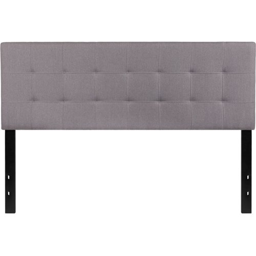 Bedford Tufted Upholstered Queen Size Headboard in Light Gray Fabric