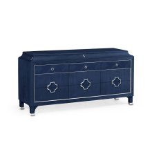 Antique Blue Oak Buffet with Eleven Drawers