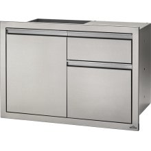 "36"" X 24"" Single Door & Waste Bin Drawer and Waste Bin Drawer , Stainless Steel"