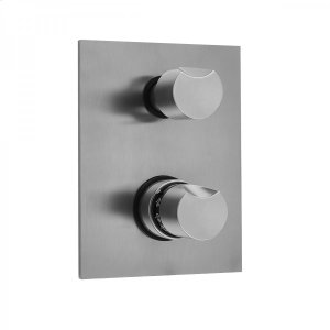 Antique Brass - Rectangle Plate with Thumb Thermostatic Valve with Thumb Built-in 2-Way Or 3-Way Diverter/Volume Controls (J-TH34-686 / J-TH34-687 / J-TH34-688 / J-TH34-689) Product Image