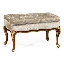 Dressing stool with gilt carved detailing, upholstered in Calico velvet