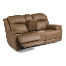 Elijah Leather Power Reclining Loveseat with Console and Power Headrests