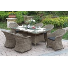 231 / Liz.p23- 7PC OUTDOOR PATIO TABLE SET [P50270(1)+P50135(6)]