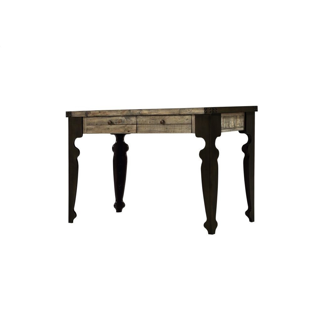 """Emerald Home Valencia 48"""" Writing Desk-natural Reclaimed Pine Finish W/bronze Wood Legs H559"""
