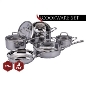 Culinary Professional 3-Ply Stainless Steel 10 Piece Cookware Set Product Image