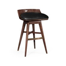 Natural Walnut Bar Stool, Upholstered in Black Leather