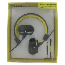 Polaroid Foldable Stereo Headphones with Two Interchangeable Cords - PHP8330YL, Yellow
