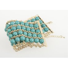BTQ Gold and Blue Beaded Bracelet